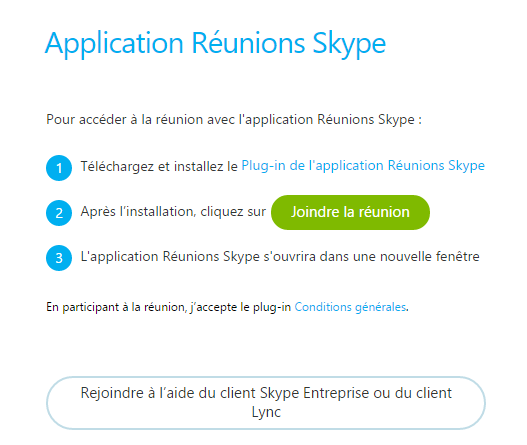 Application Réunion Skype