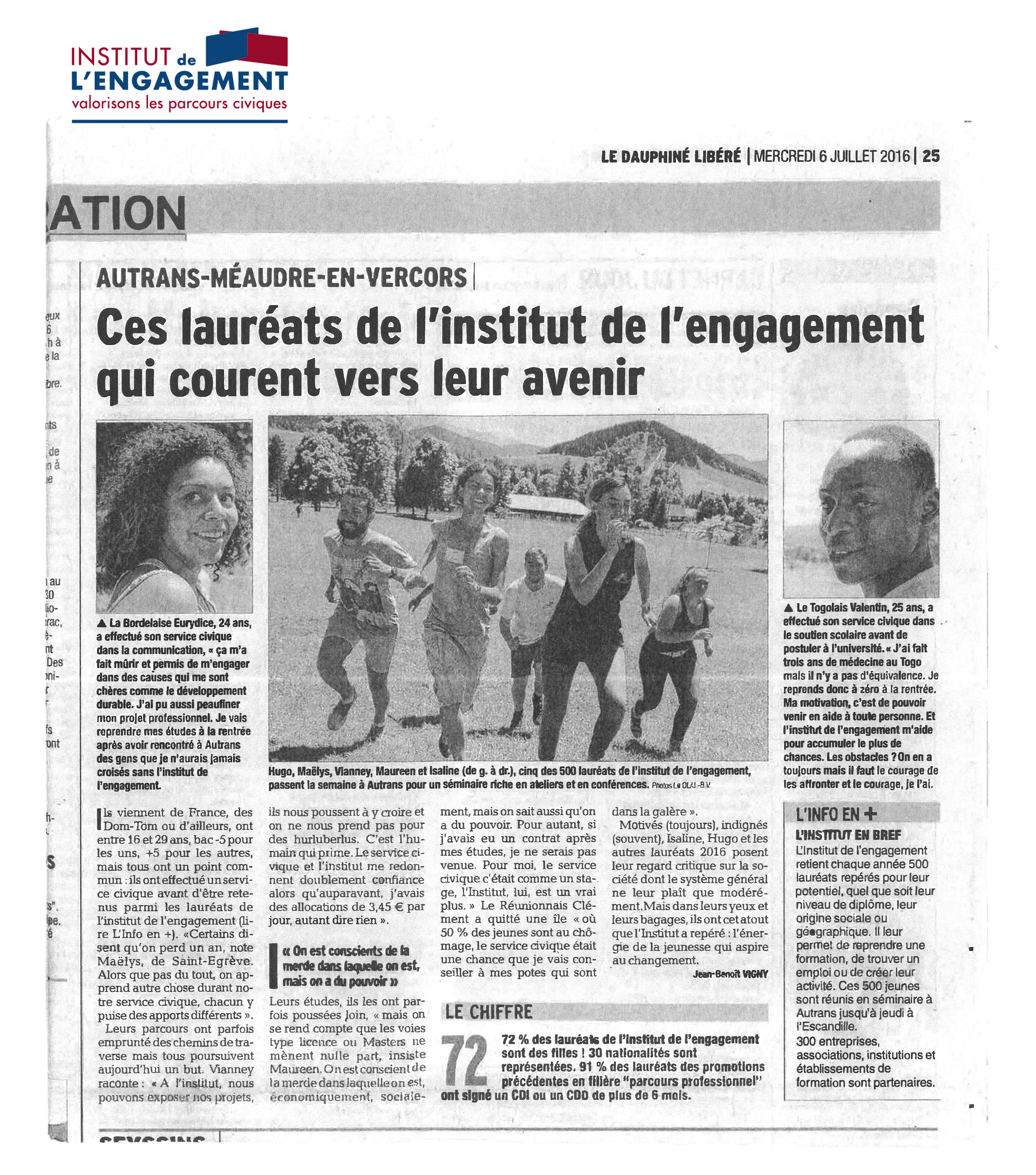 Article Dauphiné Libéré 6 juillet